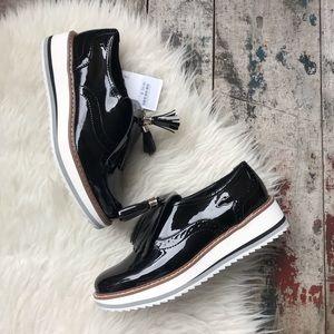 Zara black platform Oxford shoes sz 7.5 women's